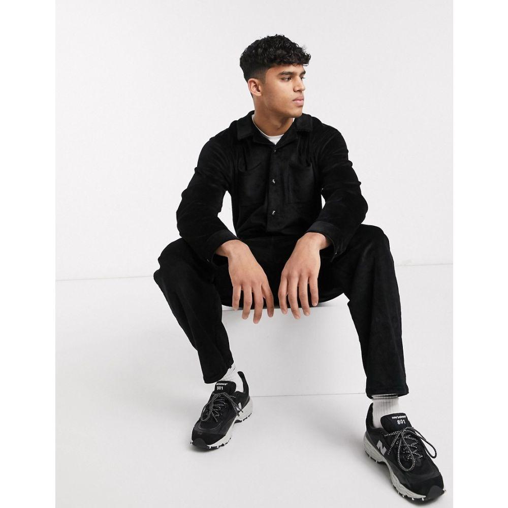 エイソス ASOS DESIGN メンズ ツナギ・オールインワン ボイラースーツ トップス【boilersuit in black cord】Black