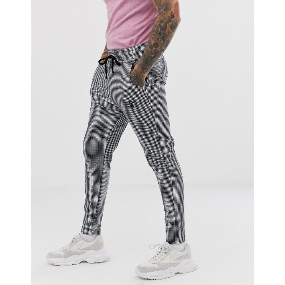 シックシルク SikSilk メンズ クロップド ボトムス・パンツ【slim cropped trousers in houndstooth】Black