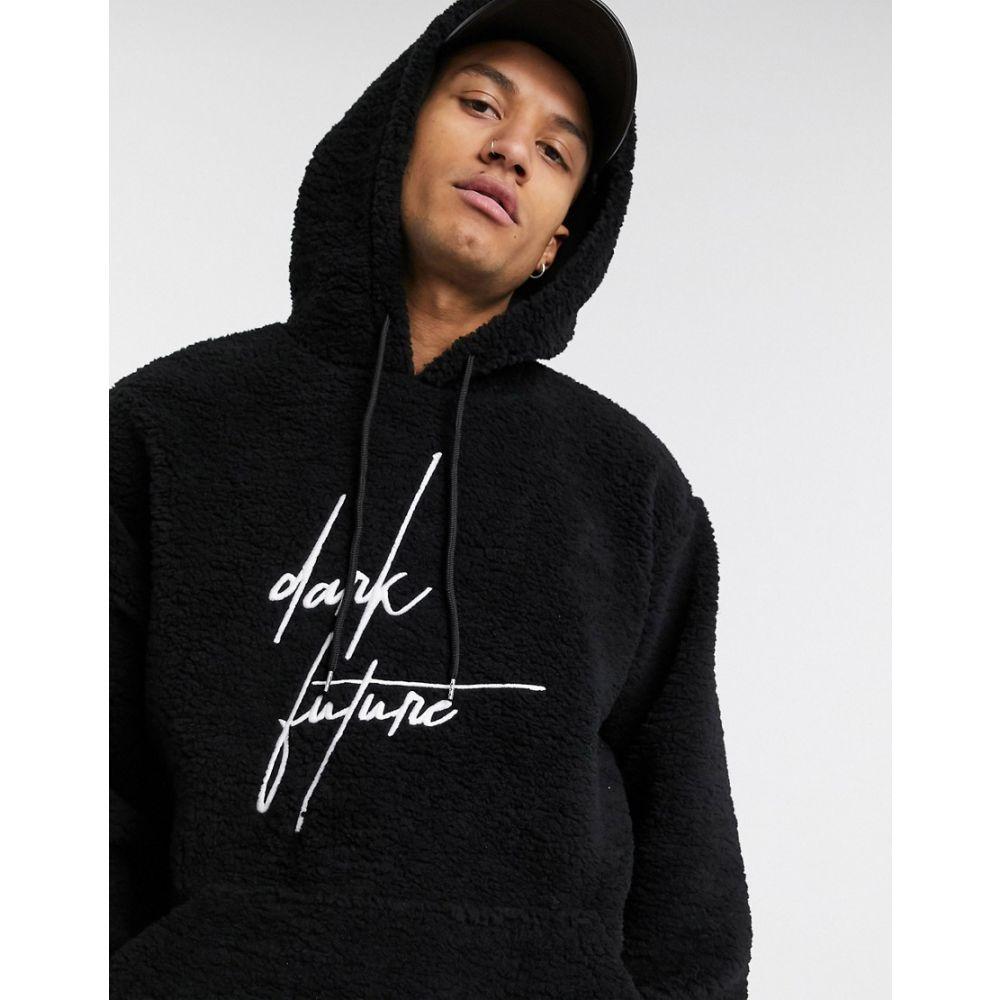 エイソス ASOS DESIGN メンズ パーカー トップス【ASOS DEISGN oversized hoodie in black teddy borg with dark future embroidery logo】Black