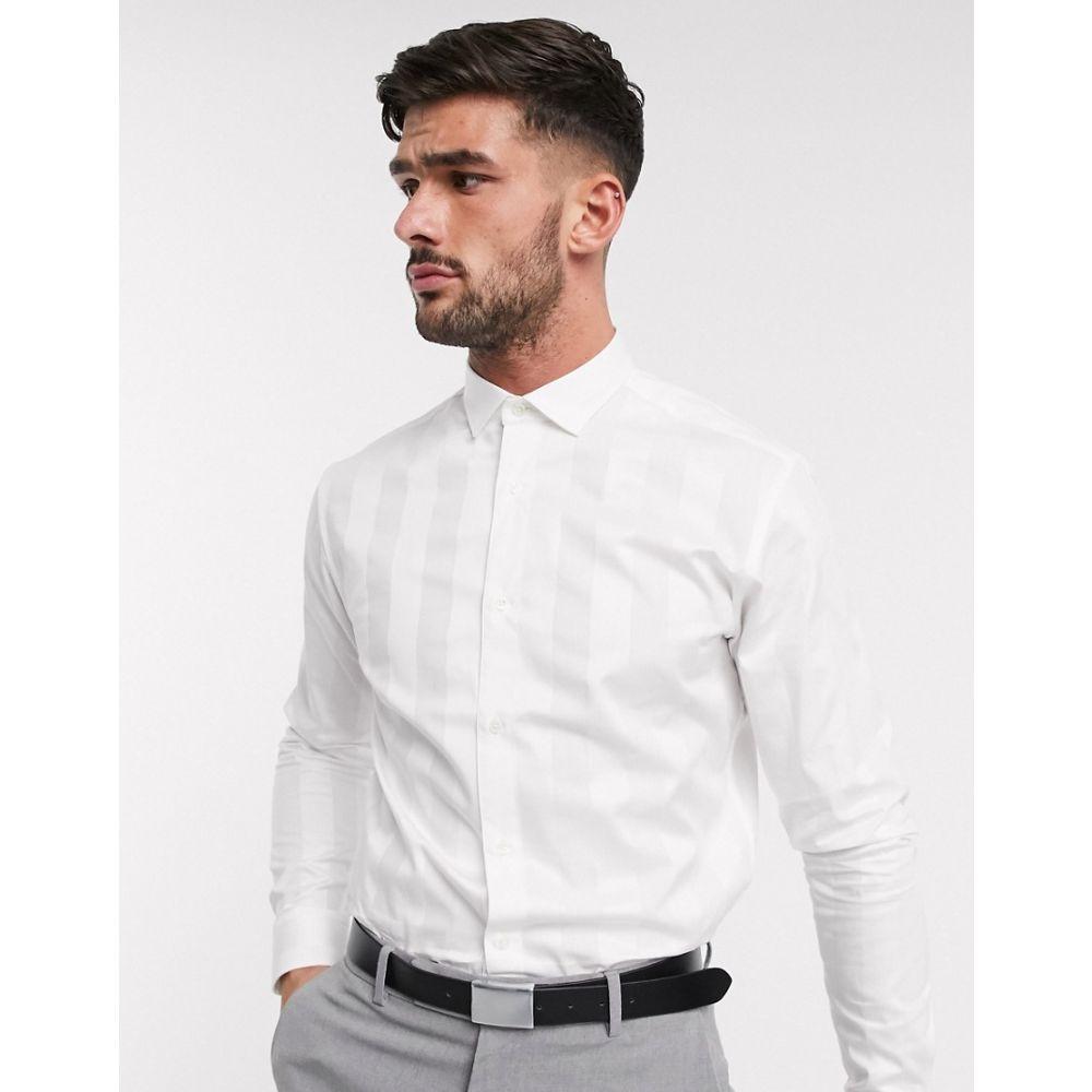 ジャック アンド ジョーンズ Jack & Jones メンズ シャツ トップス【Premium satin tonal stripe smart shirt in white】Blanc de blanc