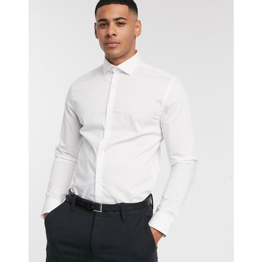 モス ブラザーズ MOSS BROS メンズ シャツ トップス【Moss London slim fit shirt in white】White