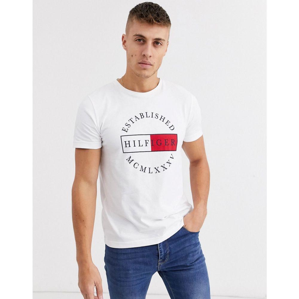 トミー ヒルフィガー Tommy Hilfiger メンズ Tシャツ トップス【corp circular logo t-shirt in white】White