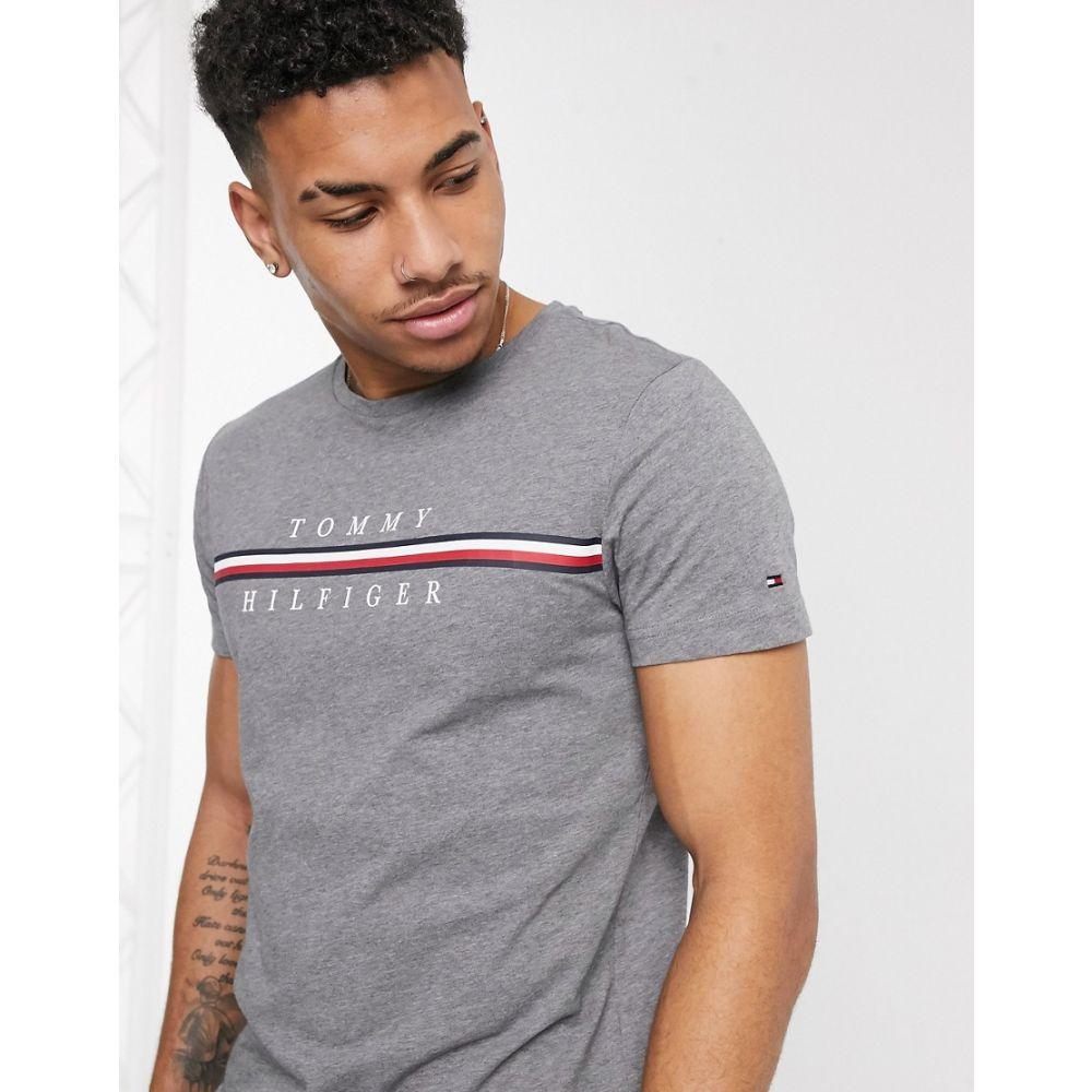 トミー ヒルフィガー Tommy Hilfiger メンズ Tシャツ トップス【corp split icon stripe logo t-shirt in dark grey】Silver fog heather