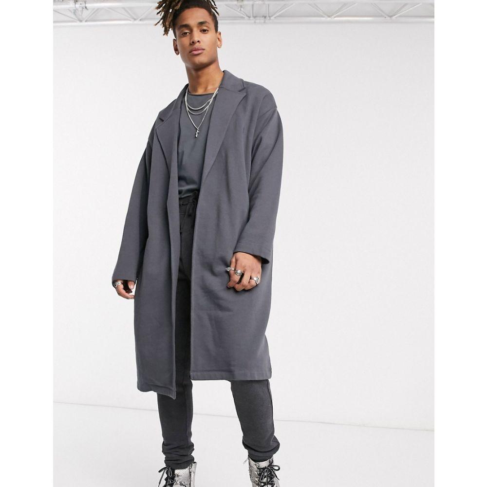 エイソス ASOS DESIGN メンズ ジャケット アウター【oversized jersey duster jacket in washed black】Asphalt