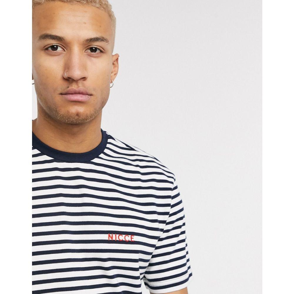 ニッチェ ロンドン Nicce メンズ Tシャツ トップス【oversized stripe t-shirt in navy & white】Deep navy/white