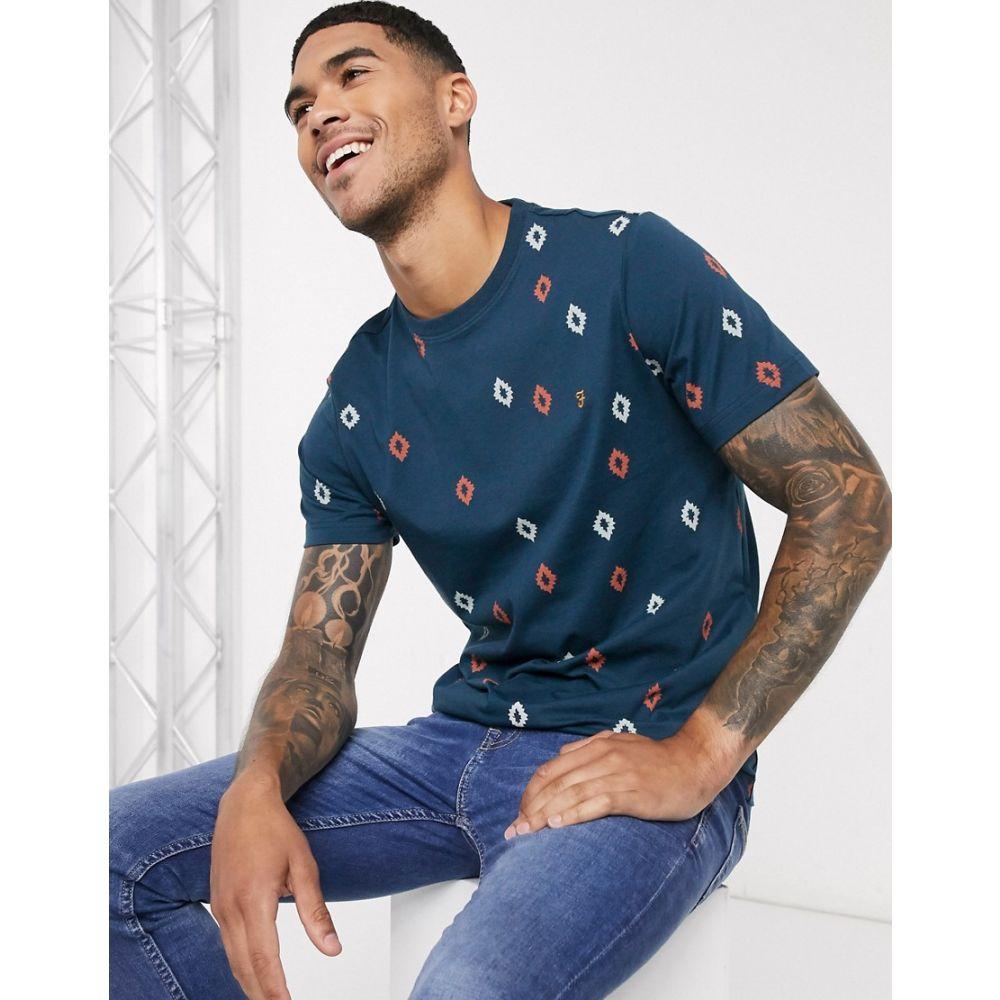 ファーラー Farah メンズ Tシャツ トップス【Chaffee print t-shirt in navy】Navy