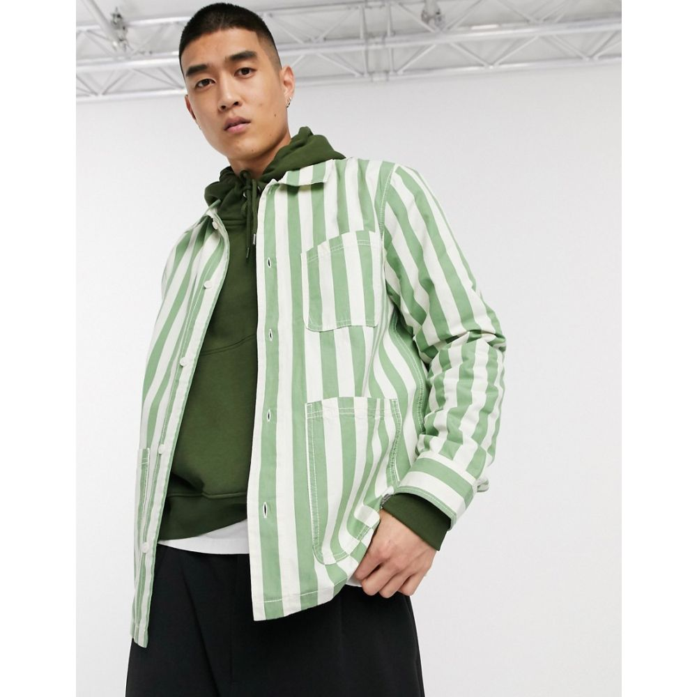 ウィークデイ Weekday メンズ シャツ オーバーシャツ トップス【Josh striped overshirt in green】Green