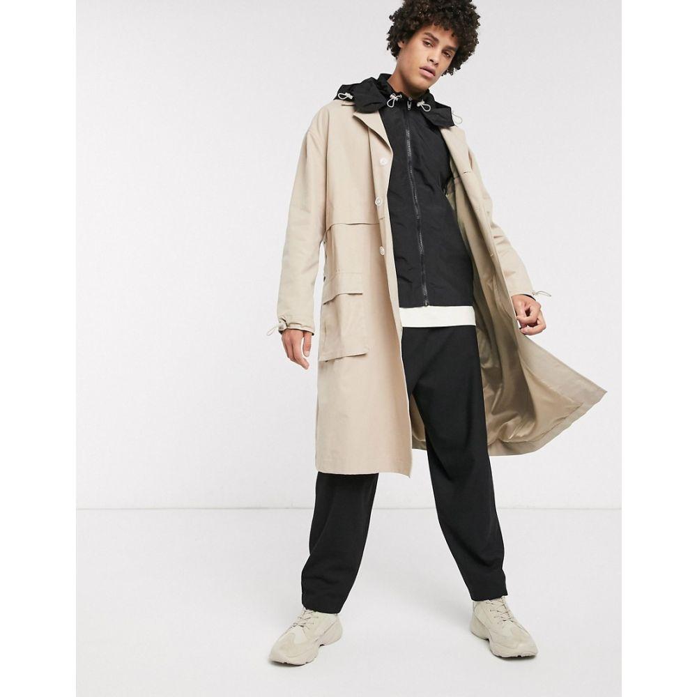 エイソス ASOS WHITE メンズ トレンチコート フード アウター【trench coat with detachable nylon gilet & hood】Beige