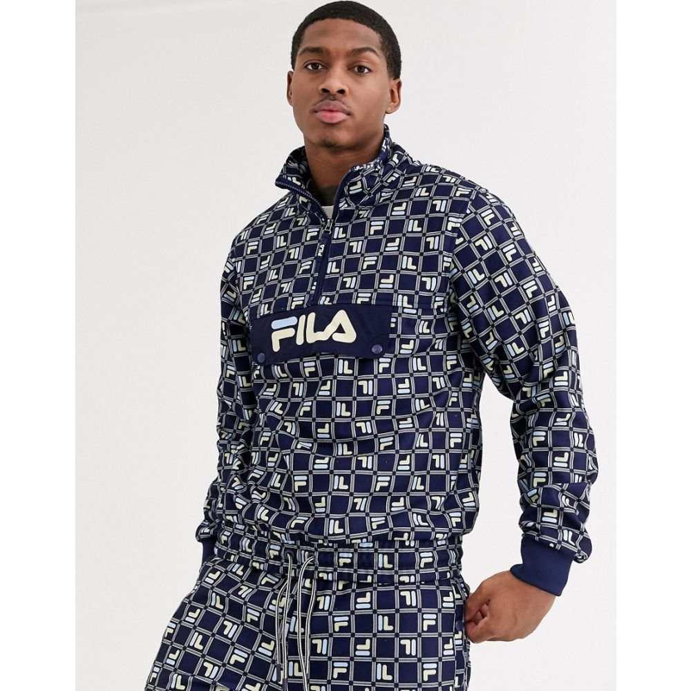 フィラ Fila メンズ フリース トップス【Aaron all-over print fleece overhead jacket in navy】Navy