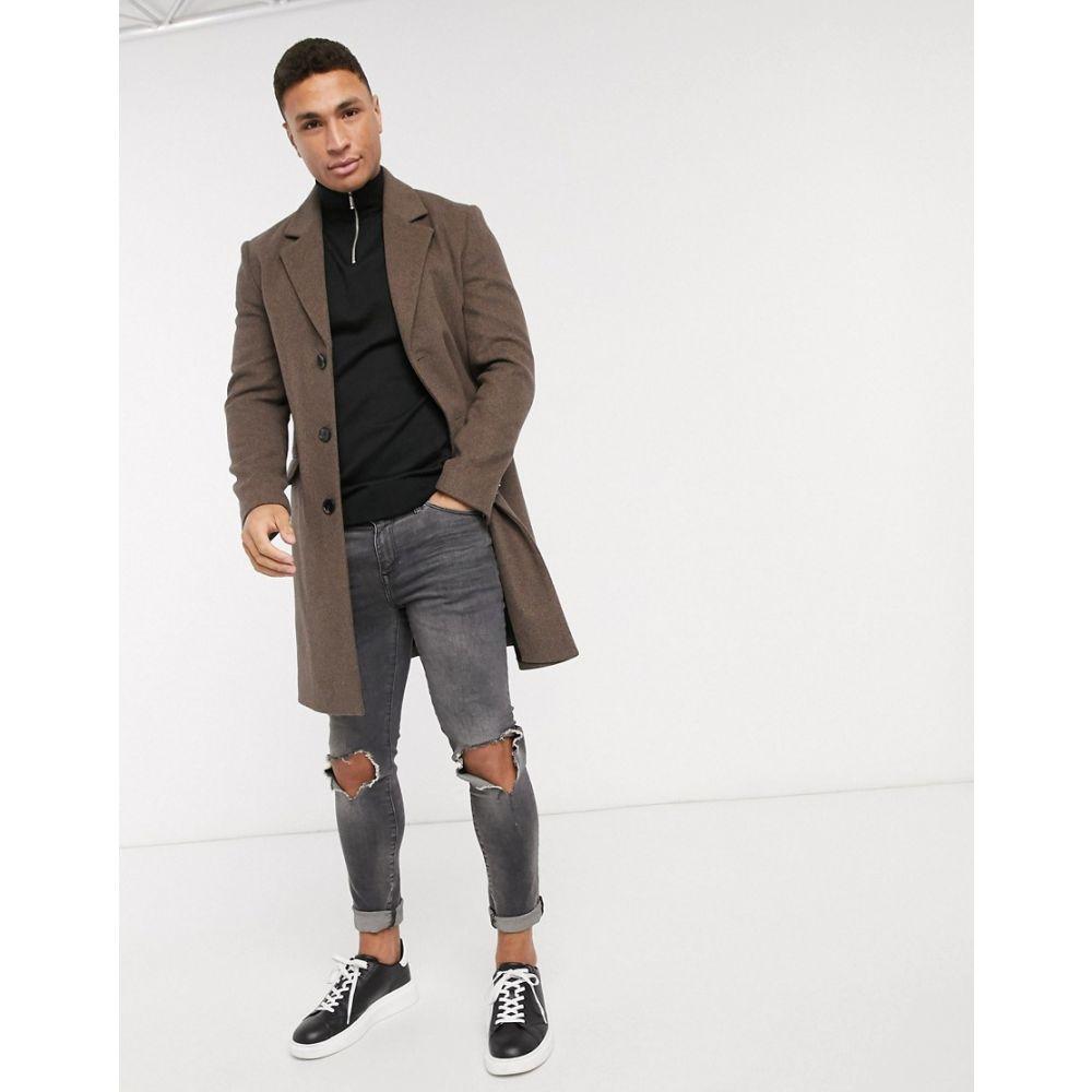リバーアイランド River Island メンズ コート アウター【wool overcoat in brown】Brown