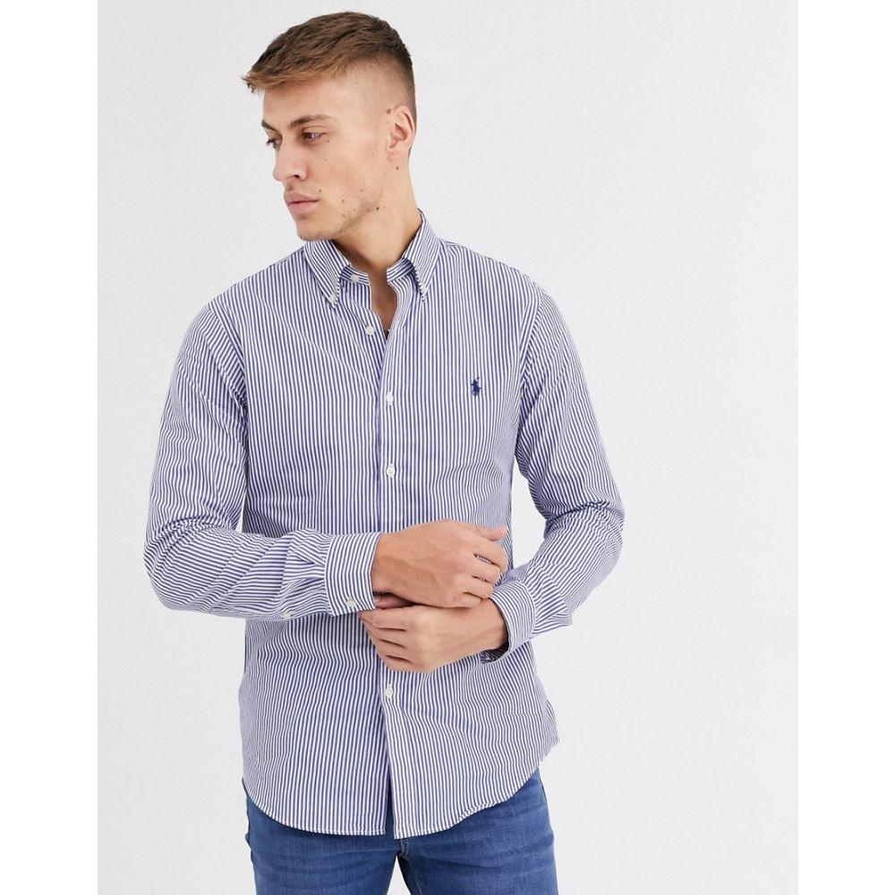 ラルフ ローレン Polo Ralph Lauren メンズ シャツ トップス【slim fit stripe poplin shirt in navy with logo】Navy
