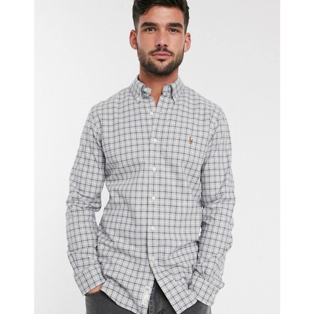 ラルフ ローレン Polo Ralph Lauren メンズ シャツ トップス【slim fit oxford shirt in grey check with logo】Grey check