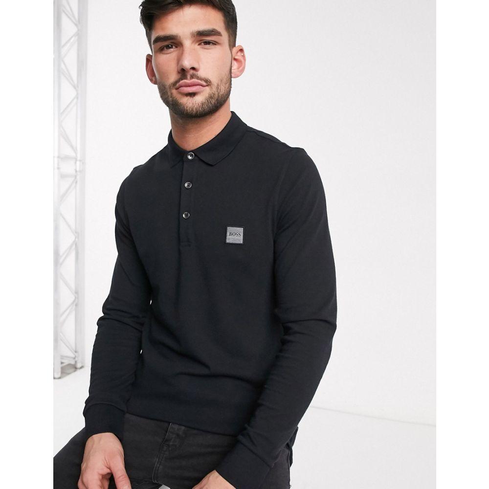 ヒューゴ ボス BOSS メンズ ポロシャツ トップス【Passerby slim fit long sleeve logo polo in black】Black