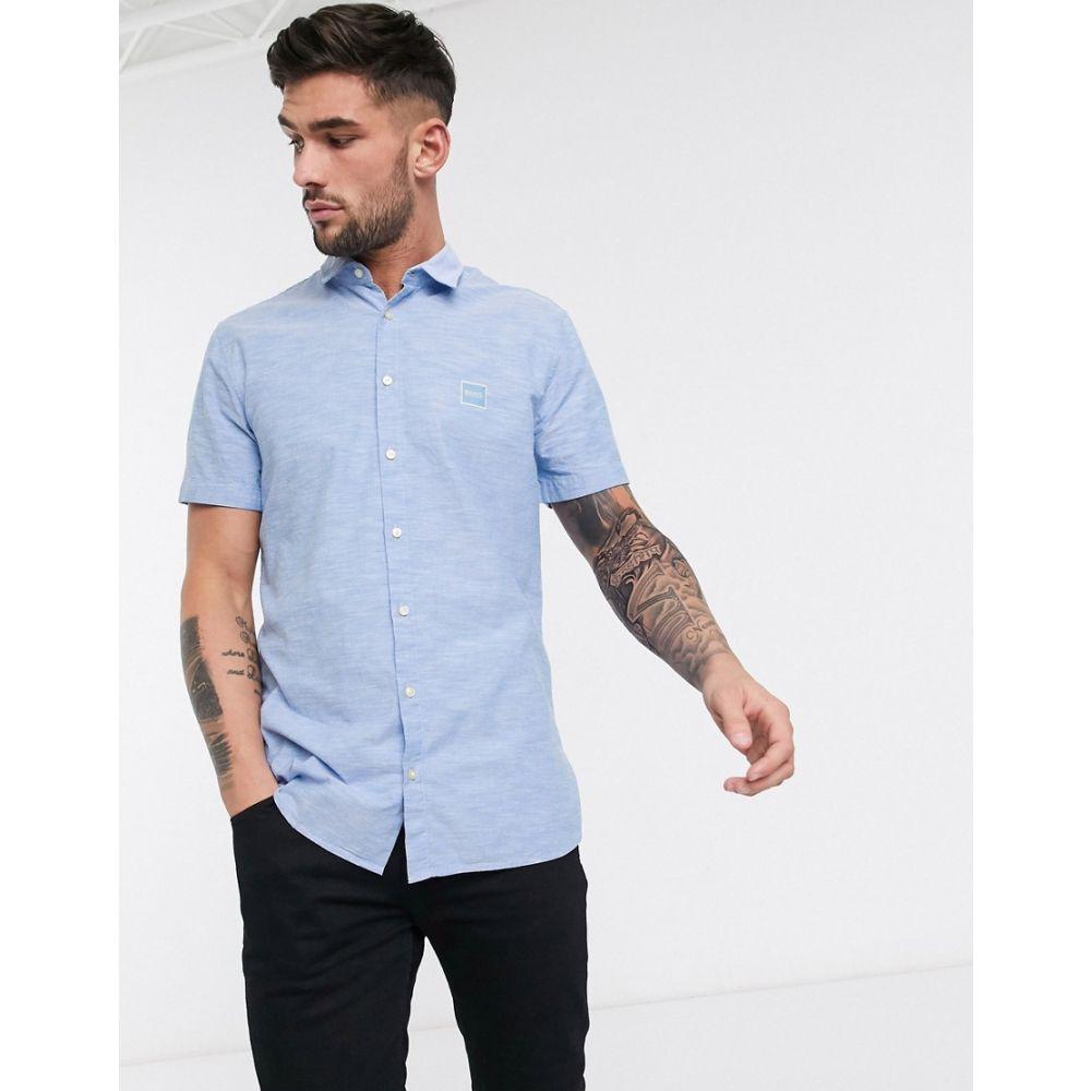 ヒューゴ ボス BOSS メンズ 半袖シャツ トップス【Magneton slim fit short sleeve shirt in blue】Blue