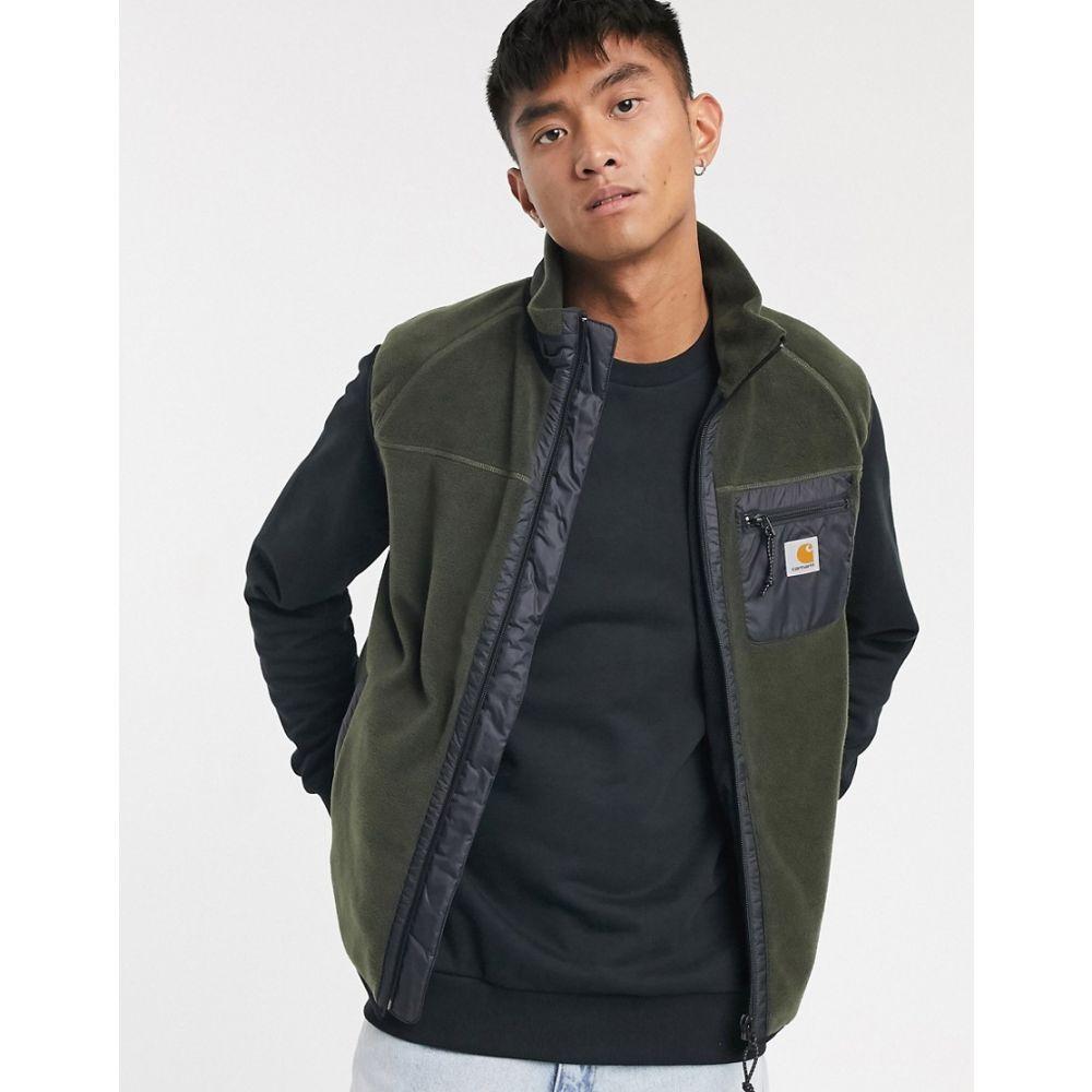 カーハート Carhartt WIP メンズ フリース トップス【Prentis vest liner fleece in khaki】Cypress/black