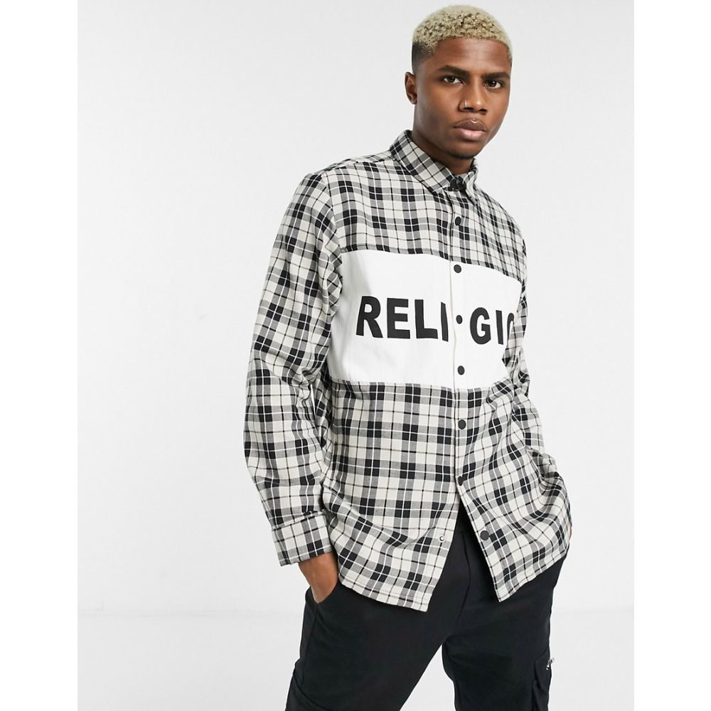 レリジョン Religion メンズ シャツ トップス【check shirt with logo panel in white/black】Black/ivory