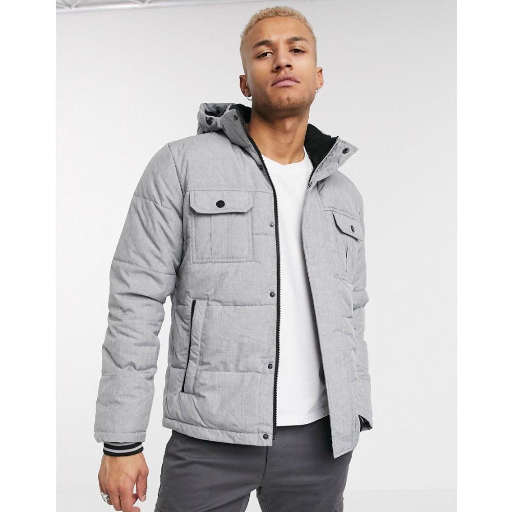 ジャック アンド ジョーンズ Jack & Jones メンズ ダウン・中綿ジャケット アウター【Core puffer jacket with hood in light grey】Light grey melange