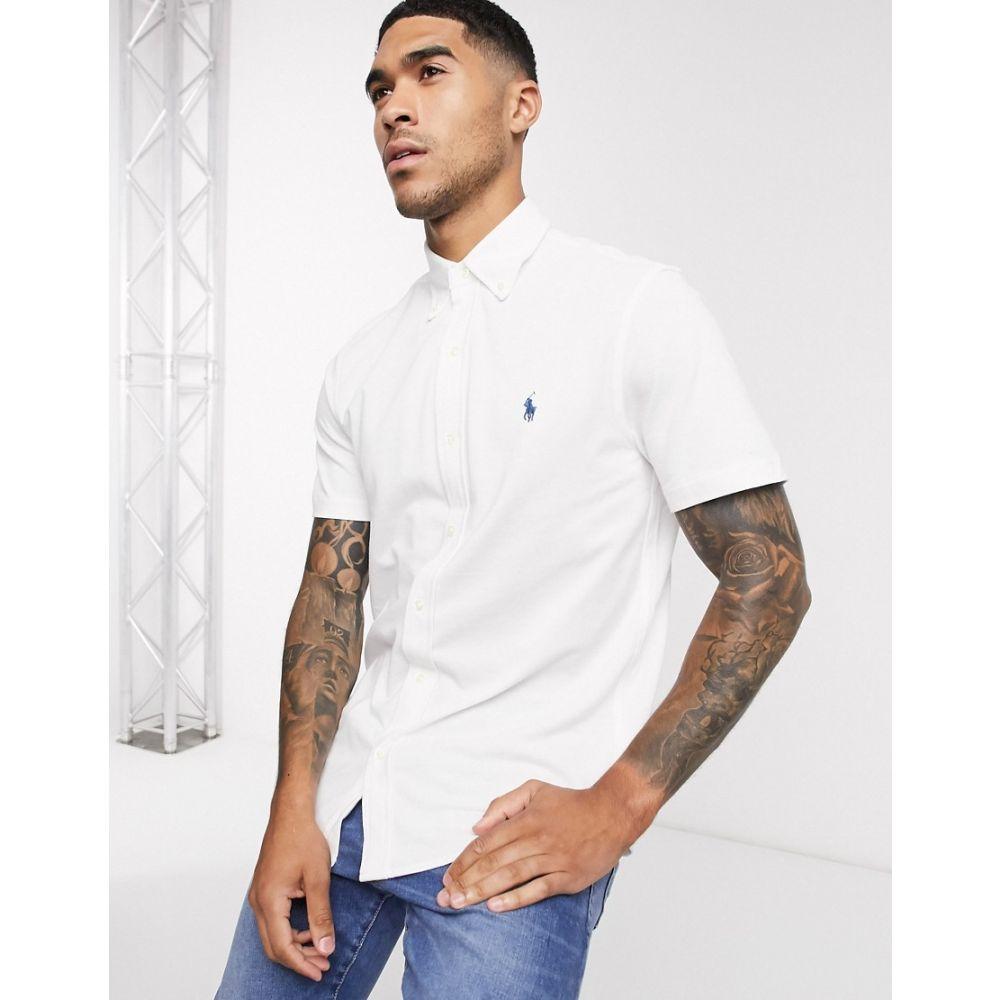 ラルフ ローレン Polo Ralph Lauren メンズ 半袖シャツ トップス【short sleeve pique shirt slim fit player logo in white】White