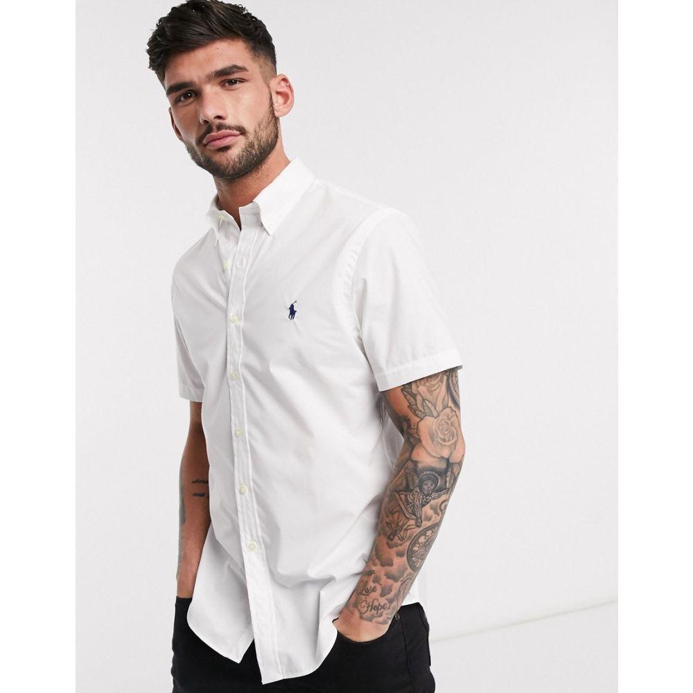 ラルフ ローレン Polo Ralph Lauren メンズ 半袖シャツ トップス【short sleeve poplin shirt slim fit player logo in white】White