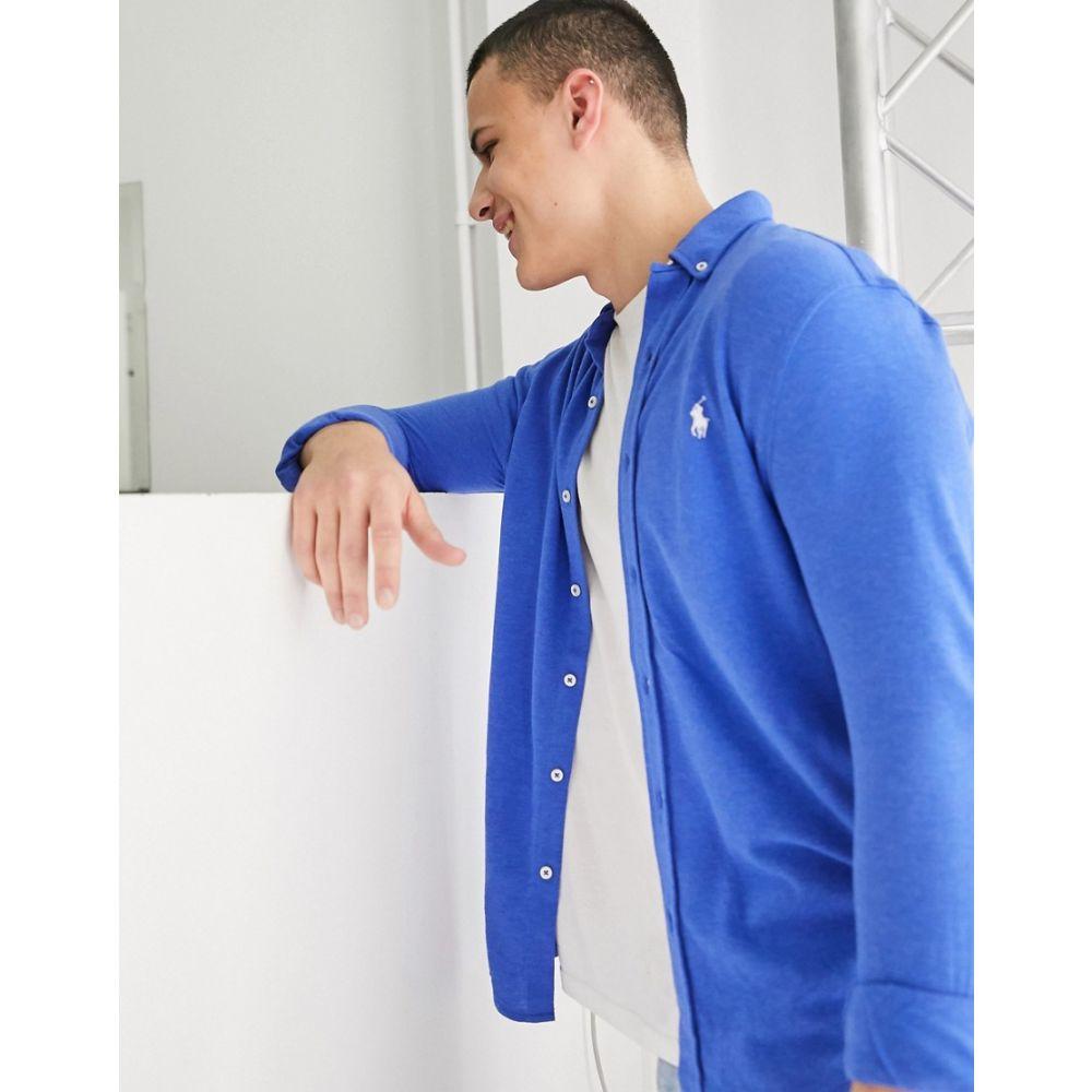 ラルフ ローレン Polo Ralph Lauren メンズ シャツ トップス【pique shirt slim fit player logo in blue marl】Dockside blue heathe
