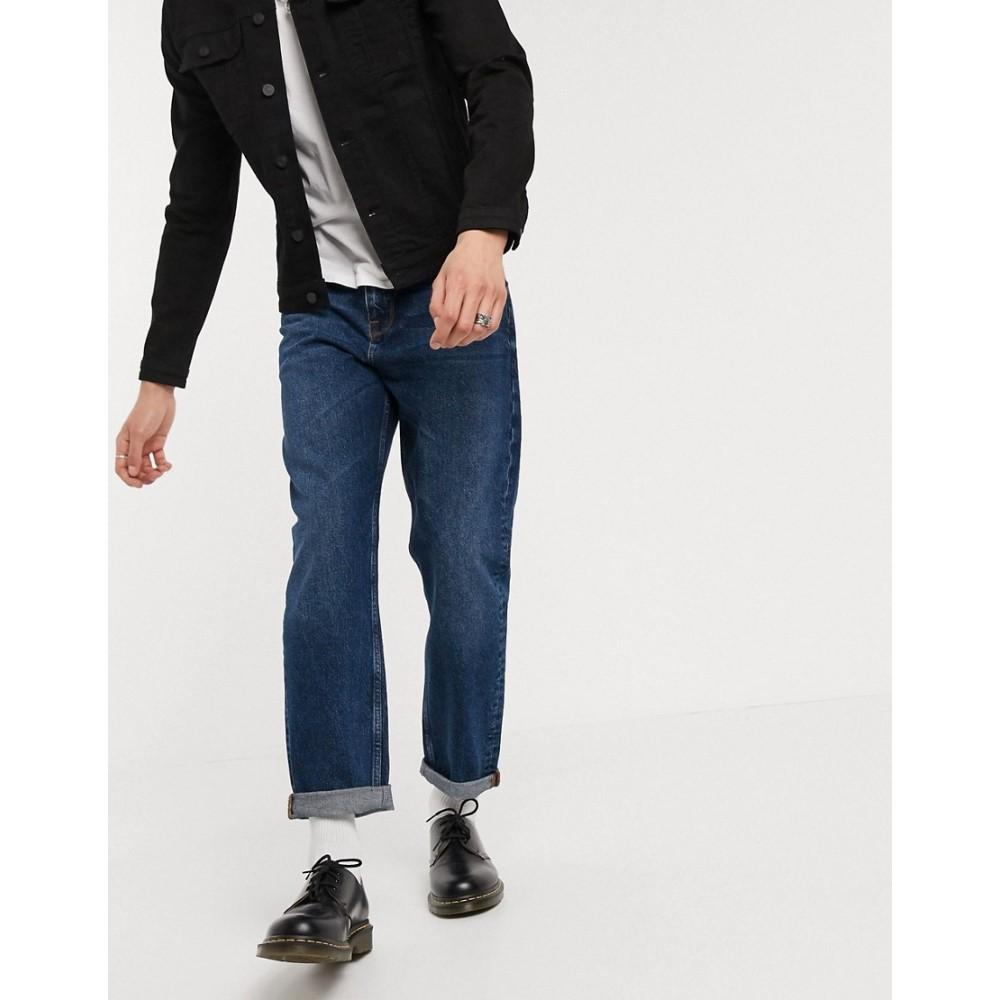 エイソス ASOS DESIGN メンズ ジーンズ・デニム ボトムス・パンツ【straight crop jeans in dark wash blue】Dark wash blue