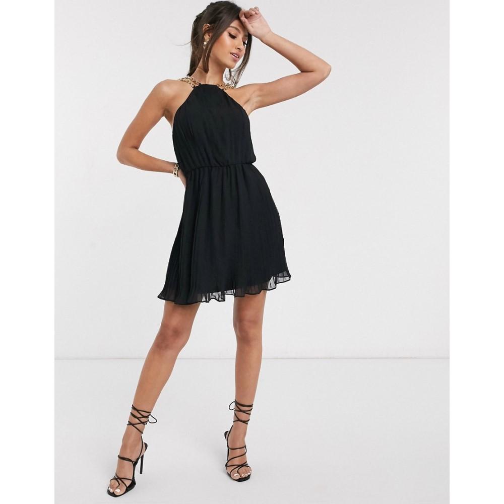 ラーレ Rare レディース ワンピース ミニ丈 ワンピース・ドレス【London gold chain strap pleated mini prom dress in black】Black