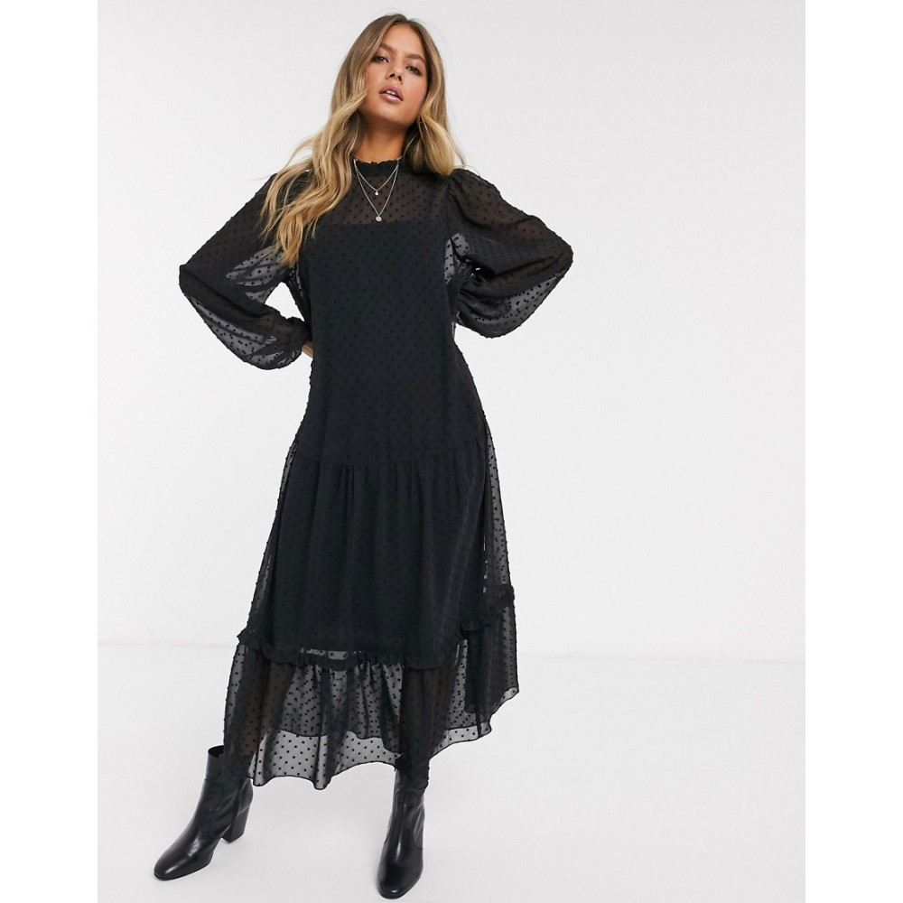 エイソス ASOS DESIGN レディース ワンピース ティアードドレス ワンピース・ドレス【high neck tiered dobby maxi dress in black】Black
