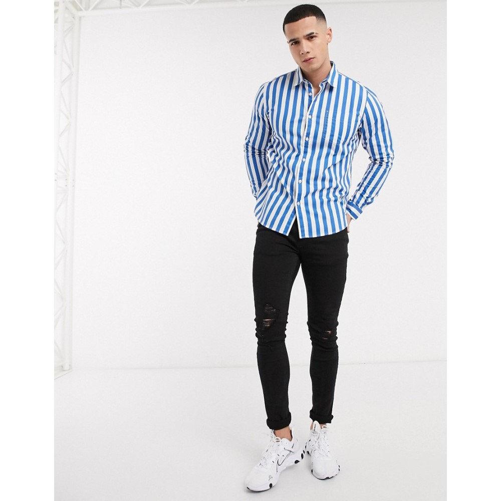 エスプリ Esprit メンズ シャツ トップス【long sleeve stripe shirt in blue】Blue
