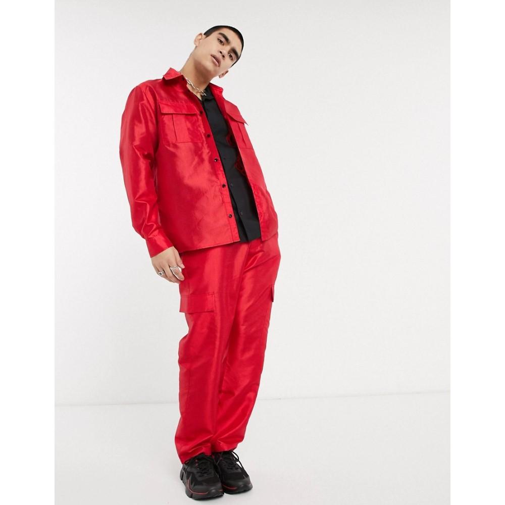 ミルクイット Milk It メンズ シャツ トップス【Vintage long sleeve utility shirt in red】Red