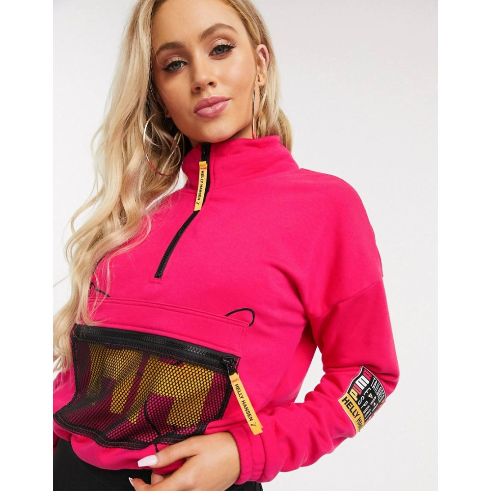 プーマ Puma レディース スウェット・トレーナー トップス【x Helly Hansen cropped half zip sweatshirt in pink】Pink