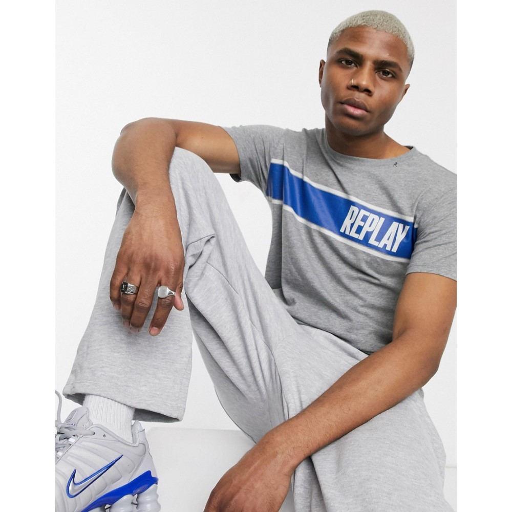 リプレイ Replay メンズ Tシャツ トップス【panel logo crew neck t-shirt in grey melange】Grey
