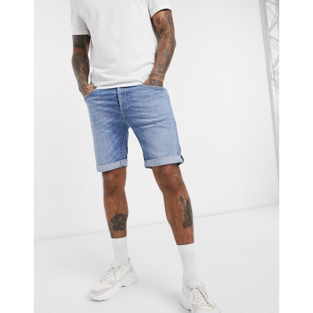 リプレイ Replay メンズ ショートパンツ デニム ボトムス・パンツ【Anbass slim fit denim shorts in light wash】Blue