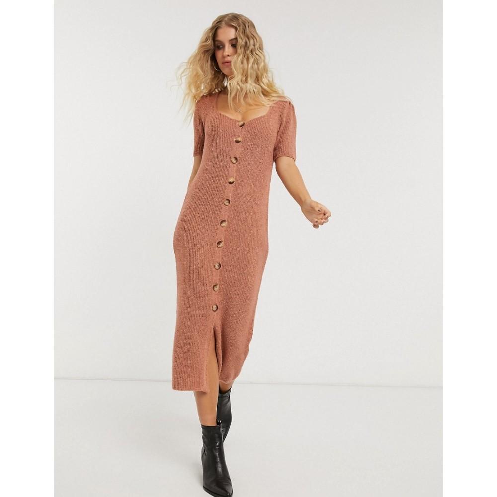 エイソス ASOS DESIGN レディース ワンピース ミドル丈 ワンピース・ドレス【button front midi dress in natural look yarn】Dusky pink