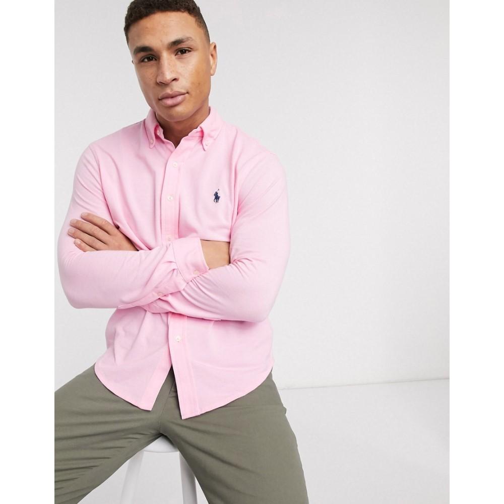 ラルフ ローレン Polo Ralph Lauren メンズ シャツ トップス【pique shirt slim fit player logo in pink】Taylor rose/c7996