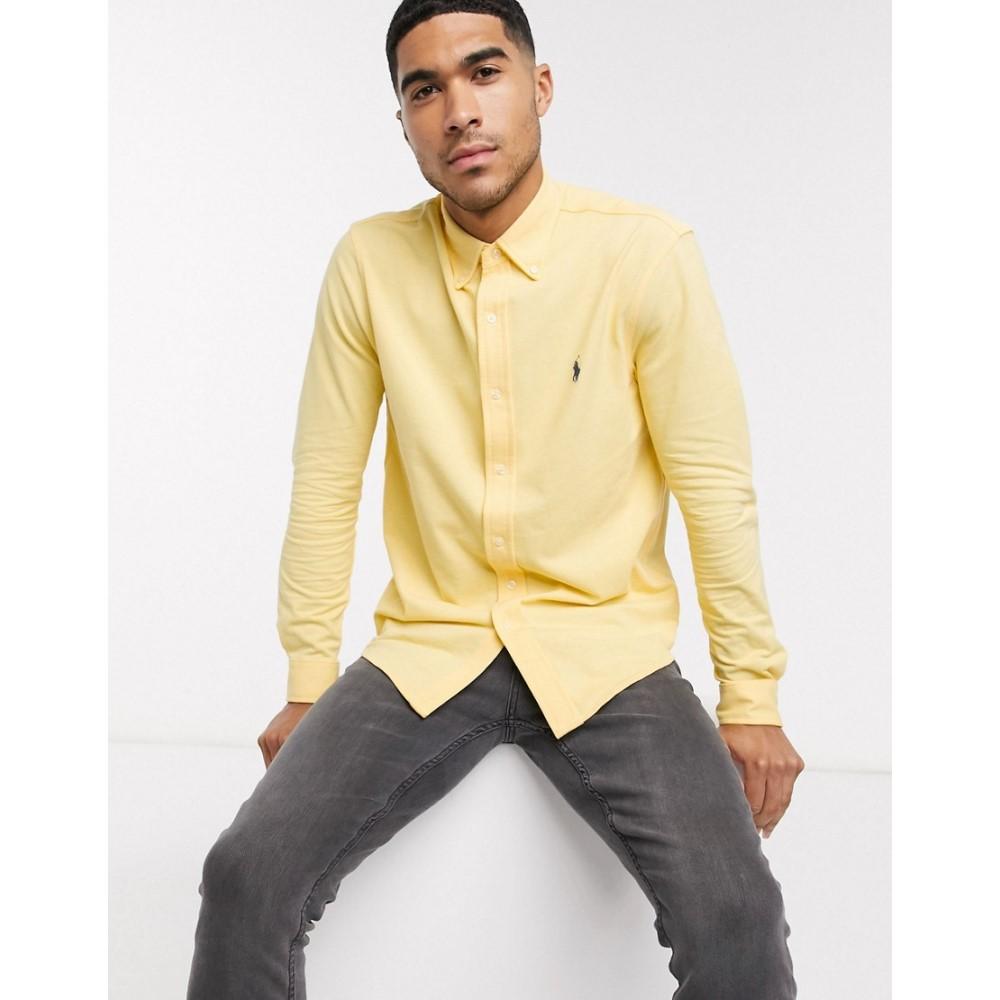 ラルフ ローレン Polo Ralph Lauren メンズ シャツ トップス【pique shirt slim fit player logo in yellow】Empire yellow/c7952