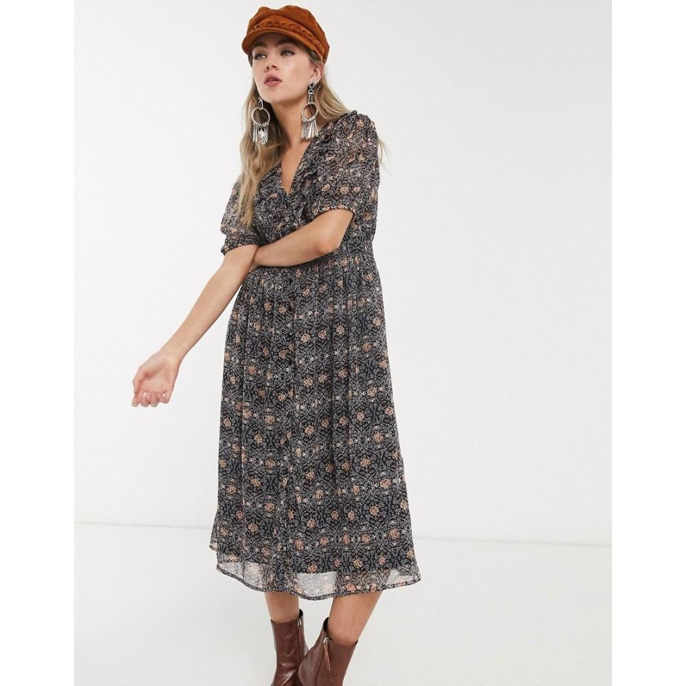 オブジェクト Object レディース ワンピース ワンピース・ドレス【puff sleeve midi dress in paisley print】Navy