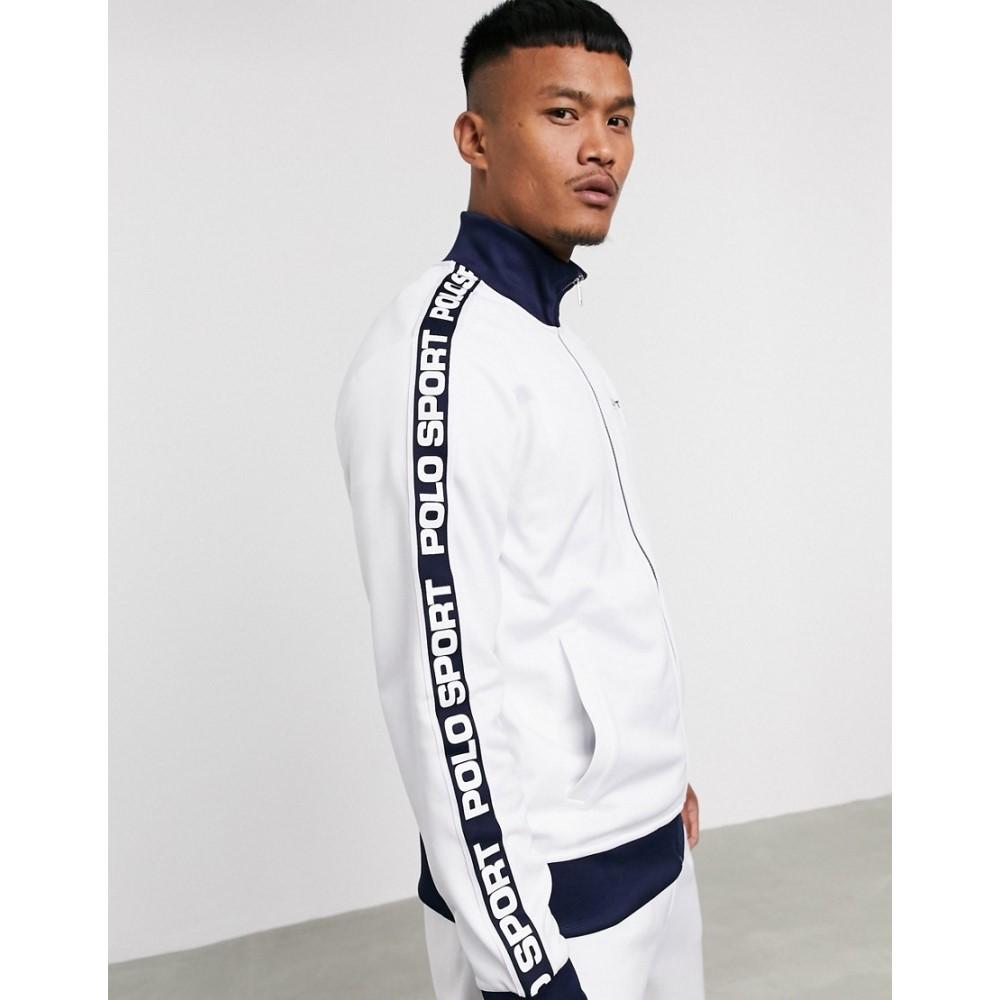 ラルフ ローレン Polo Ralph Lauren メンズ ジャージ アウター【Sport Capsule logo taped sleeve tricot track jacket in white】Pure white