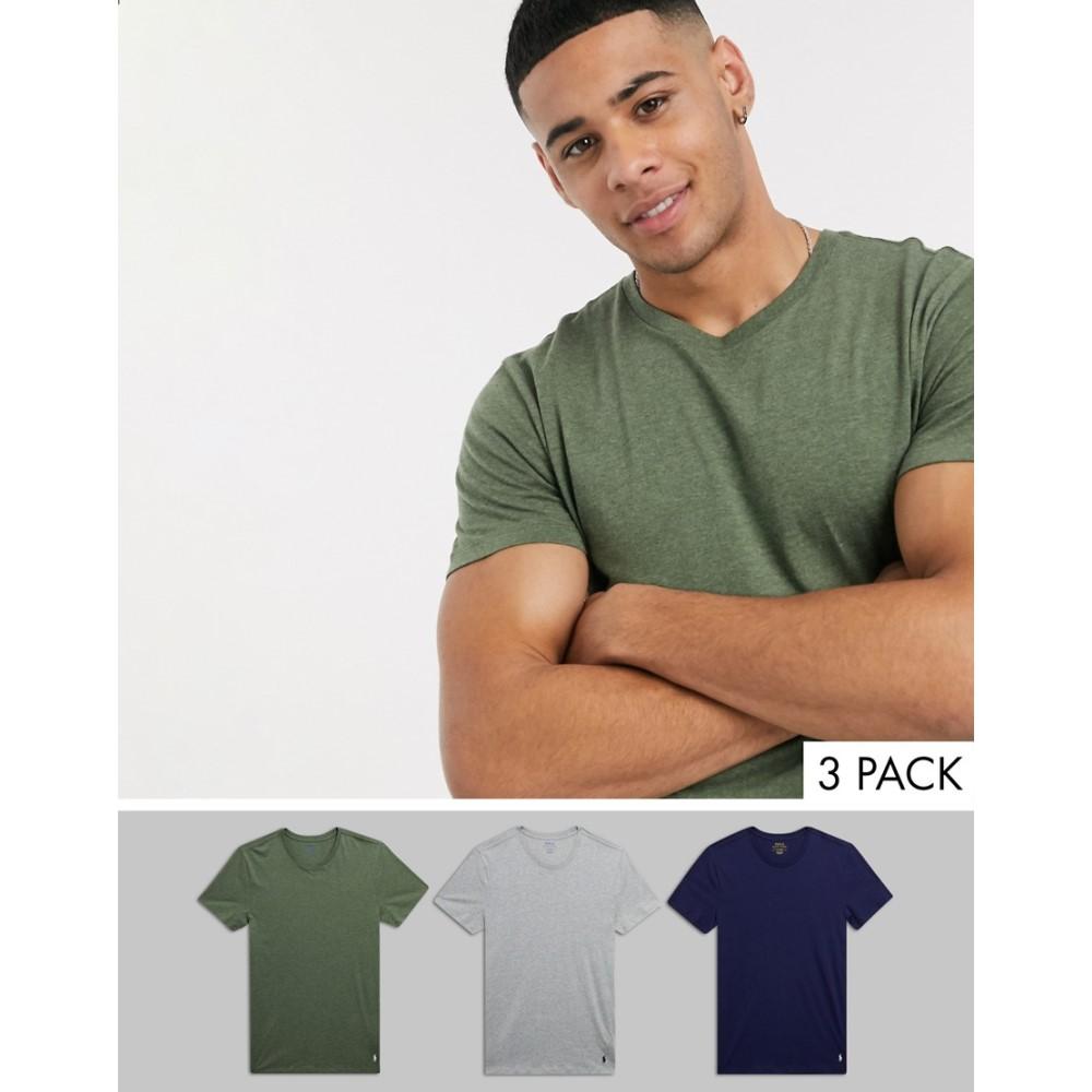ラルフ ローレン Polo Ralph Lauren メンズ Tシャツ 3点セット トップス【3 pack t-shirt in navy/grey/ olive】Navy grey green
