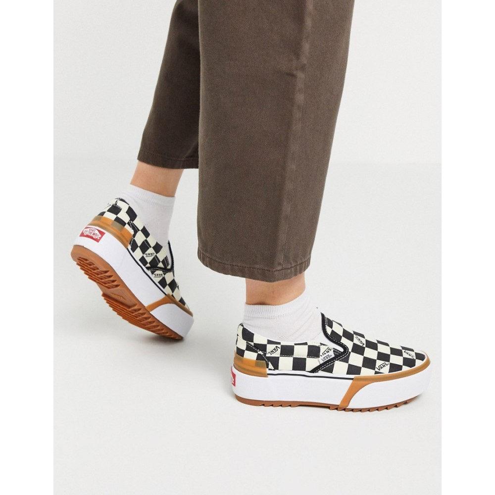 ヴァンズ Vans レディース スリッポン・フラット シューズ・靴【Classic Slip-On Stacked trainer in checkerboard】Ard multi/true white