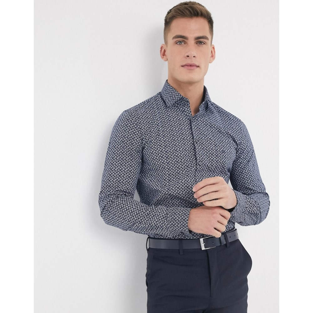カルバンクライン Calvin Klein メンズ シャツ トップス【printed stretch slim fit shirt】Navy
