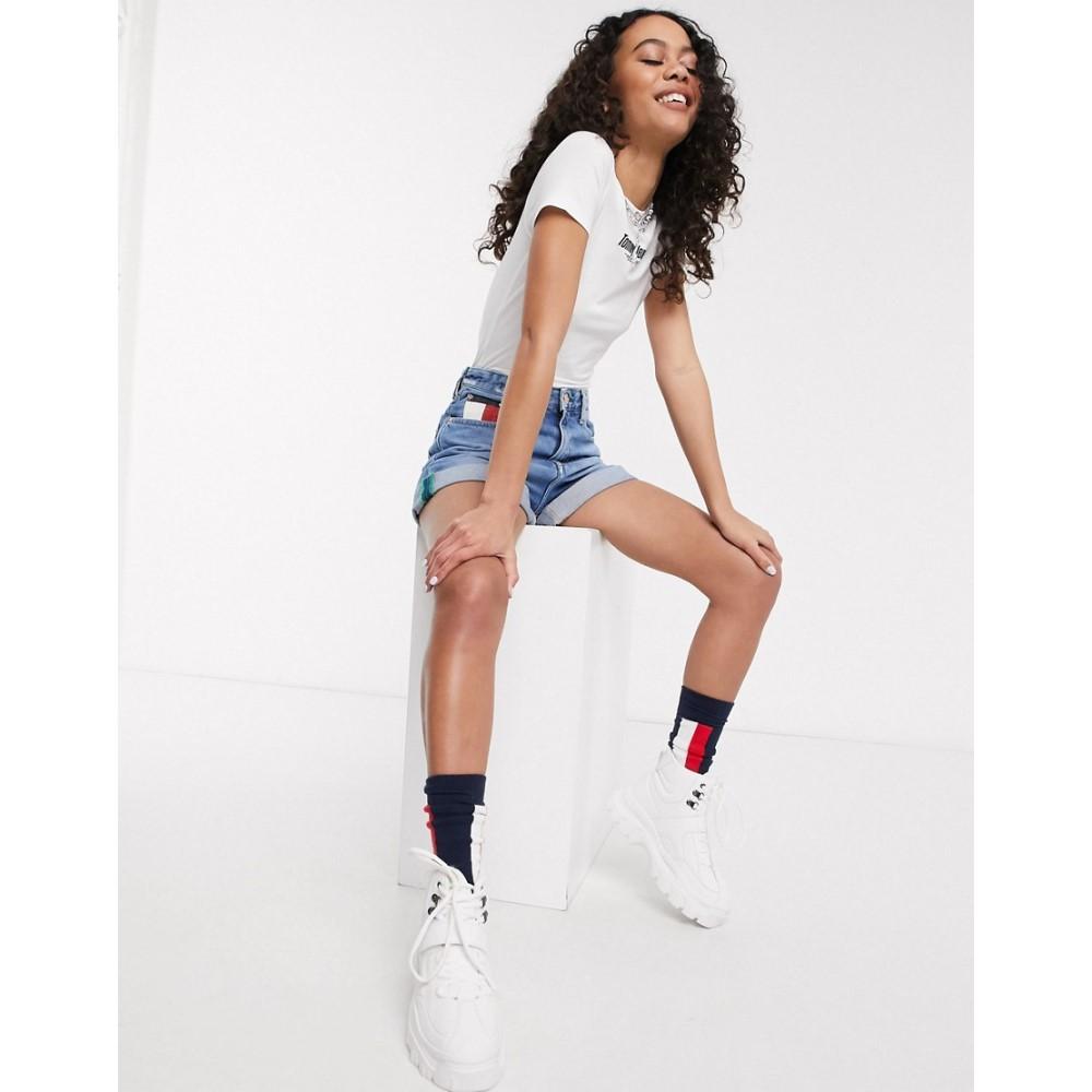 トミー ジーンズ Tommy Jeans レディース ボディースーツ インナー・下着【t-shirt body with front logo in white】White