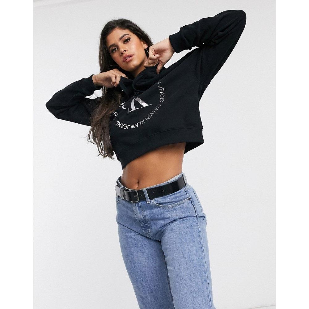 カルバンクライン Calvin Klein Jeans レディース パーカー トップス【round logo hoodie in black】Black