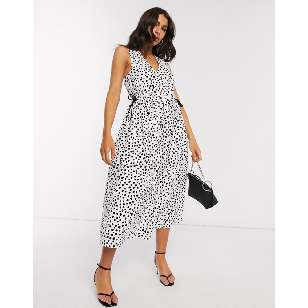 エイソス ASOS DESIGN レディース ワンピース ラップドレス ミドル丈 ワンピース・ドレス【cotton poplin wrap smock midi dress with drawstring waist in mono splodge print】Mono splodge