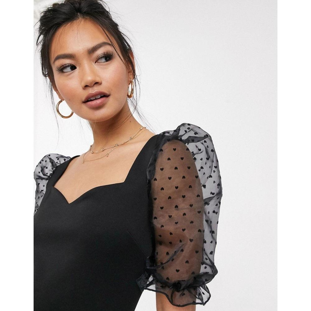 ミス セルフリッジ Miss Selfridge レディース ワンピース ミニ丈 ワンピース・ドレス【mini dress with oversized sleeves in black】Black