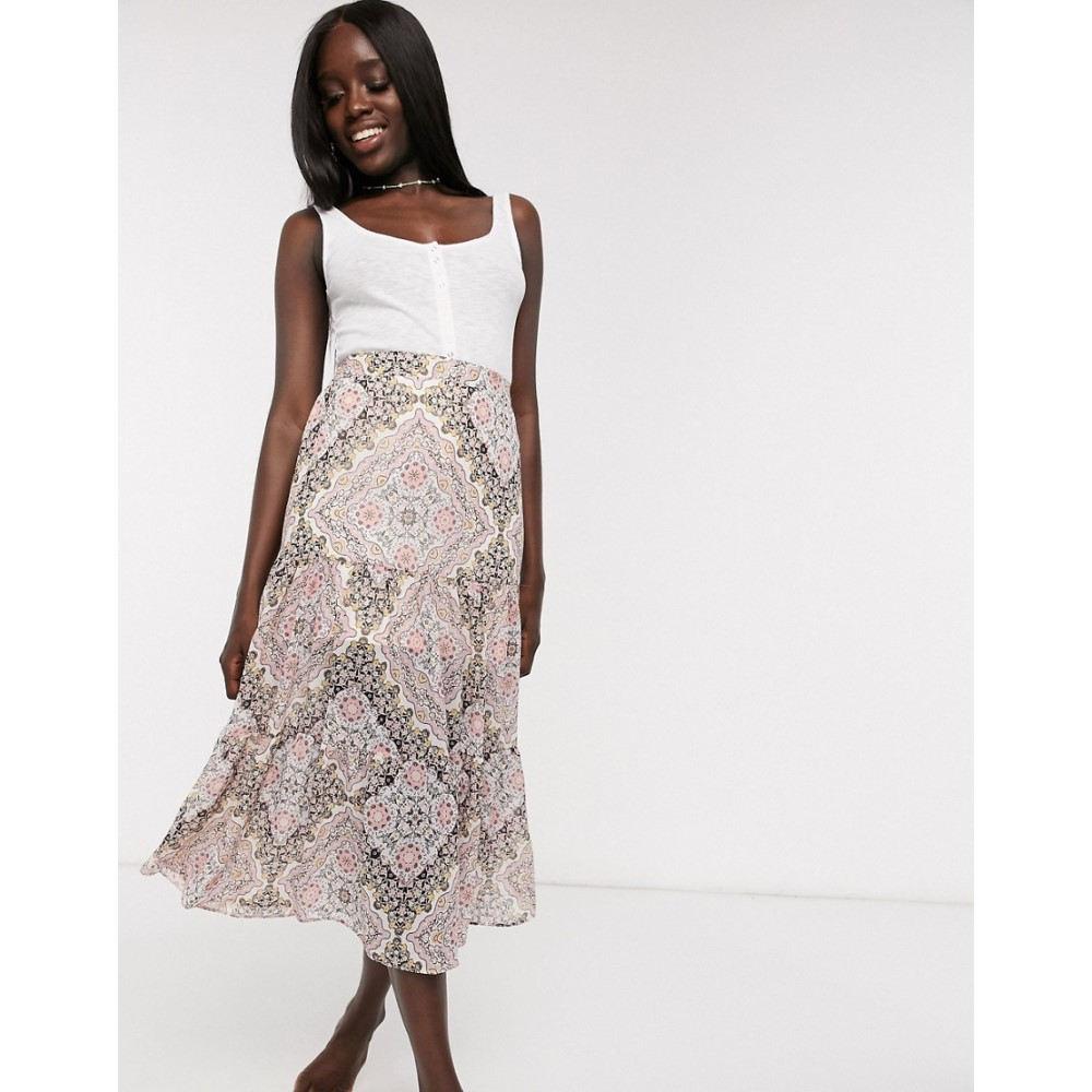 ミス セルフリッジ Miss Selfridge レディース ロング・マキシ丈スカート スカート【maxi skirt in paisley print】Cream