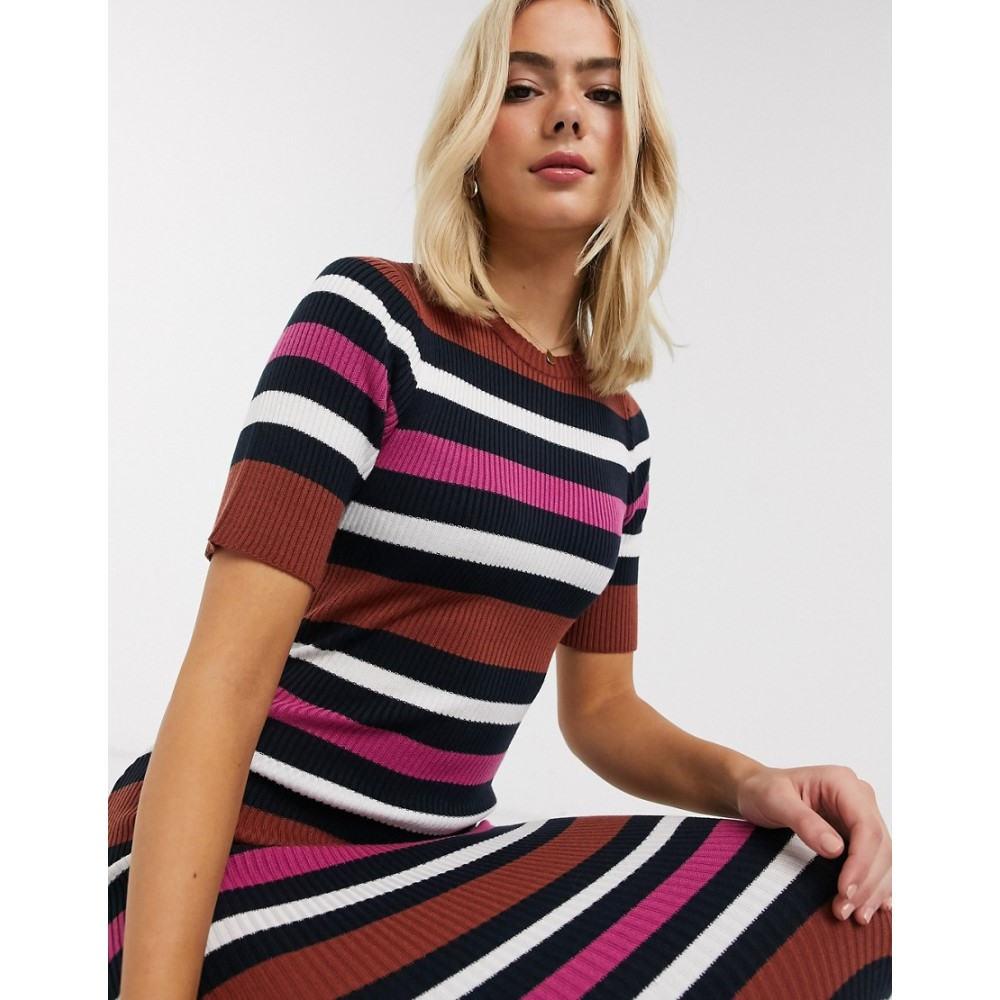 エイソス ASOS DESIGN レディース ワンピース ミドル丈 ワンピース・ドレス【knitted stripe midi dress】Multi