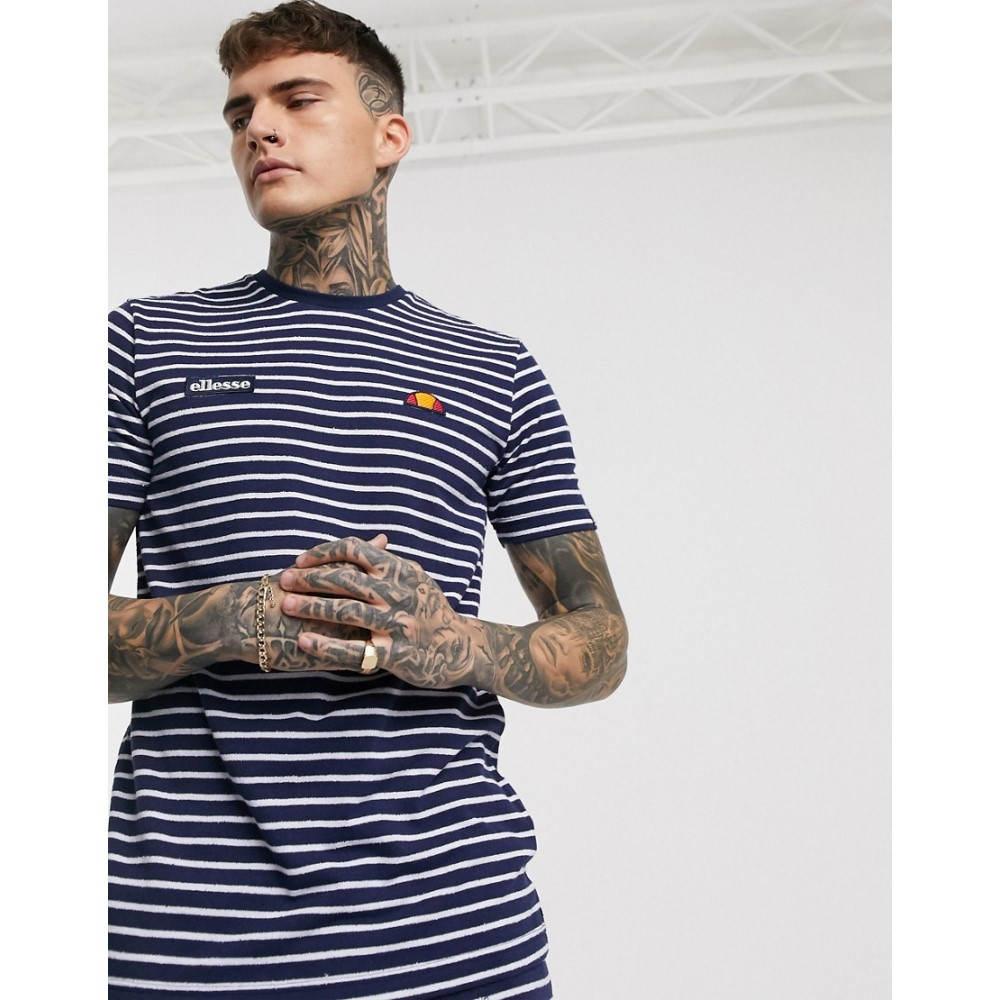 エレッセ ellesse メンズ Tシャツ トップス【Theron striped t-shirt in navy】Navy