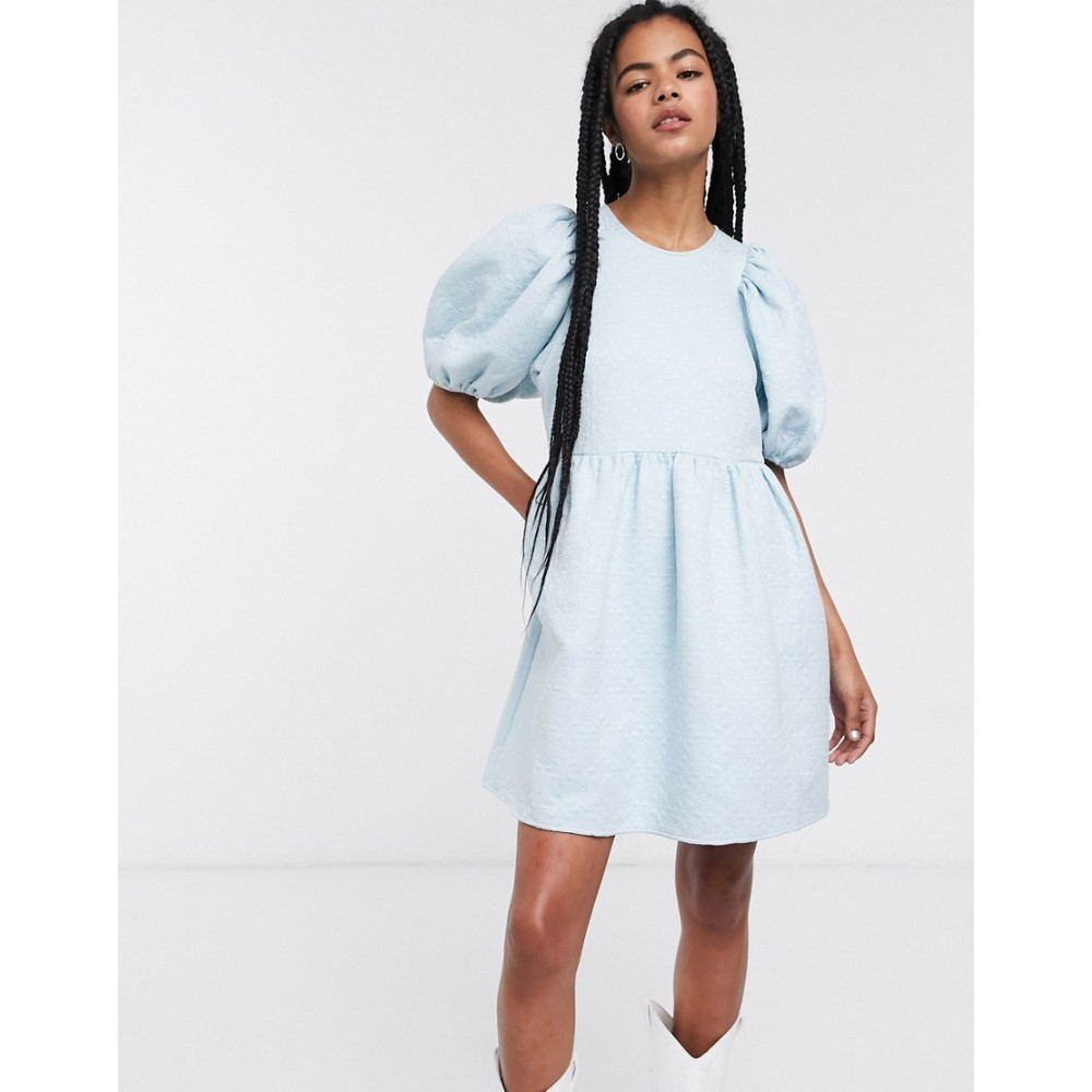 アンドアザーストーリーズ & Other Stories レディース ワンピース ミニ丈 ワンピース・ドレス【puff sleeve jacquard mini dress in light blue】Light blue