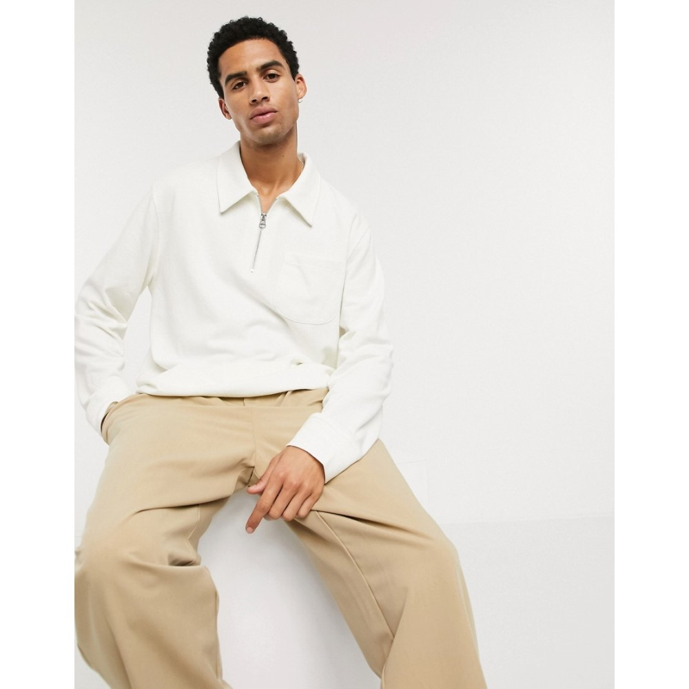 ウィークデイ Weekday メンズ 長袖Tシャツ トップス【Simon halfzip long sleeve in light beige】Light beige