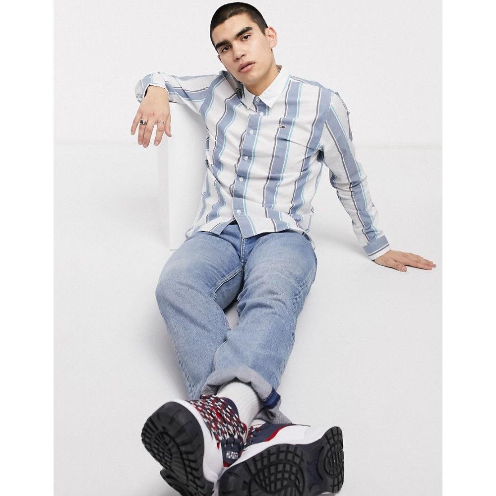 トミー ジーンズ Tommy Jeans メンズ シャツ トップス【essential flag logo stripe shirt regular fit in blue】Audacious blue/mul